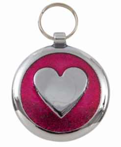 Tagiffany Shimmer Deep Pink Heart Pet ID Tag