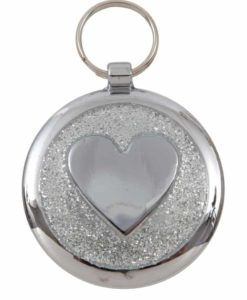Tagiffany Shimmer Heart Silver Sparkle Pet ID Tag