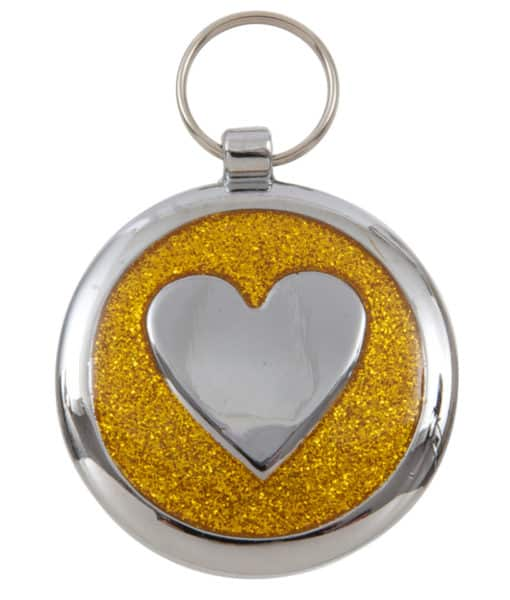 tagiffany shimmer heart dog cat id tag gold