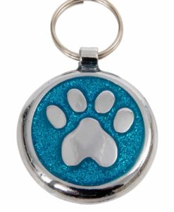 Tagiffany Shimmer Paw Azure Blue Pet ID Tag