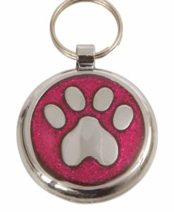 Tagiffany Shimmer Paw Deep Pink Pet ID Tag