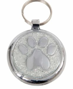 Tagiffany Shimmer Paw Silver Sparkle Pet ID Tag