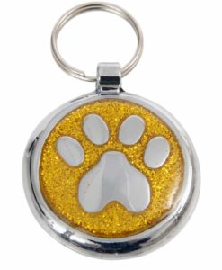 Tagiffany Shimmer Paw Yellow Gold Pet ID Tag