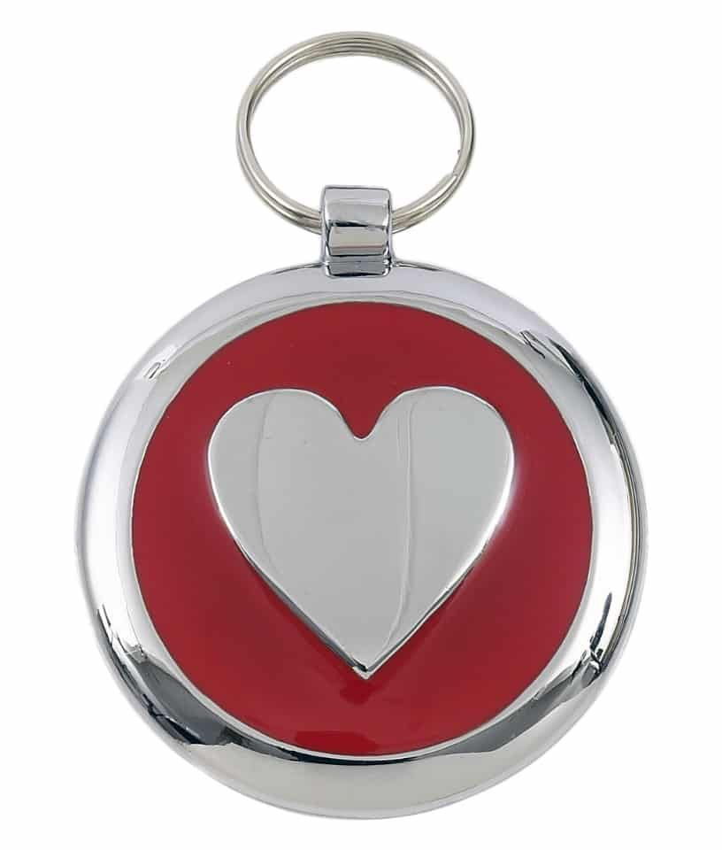 Smarties Domed Pet ID Tags for Dogs With Heart - Red