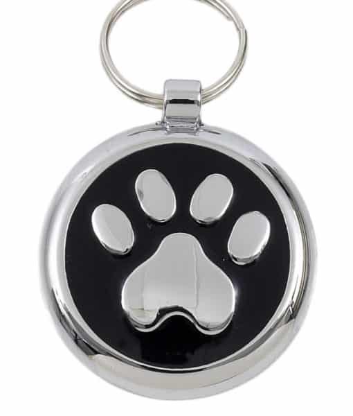 Smarties Domed Dog ID Tag With Paw - Black