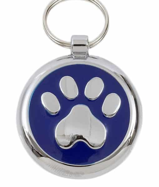 Smarties Domed Dog ID Tag With Paw - Blue