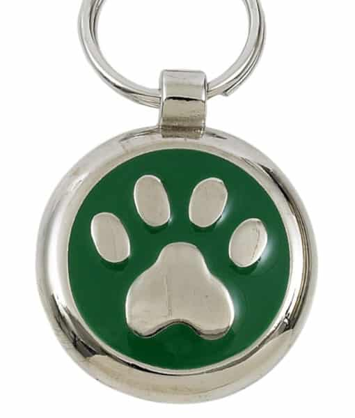Smarties Domed Dog ID Tag With Paw - Green