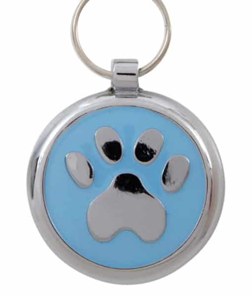 Smarties Domed Dog ID Tag With Paw - Light Blue