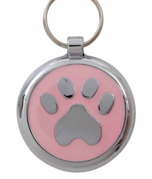 Smarties Domed Dog ID Tag With Paw - Light Pink