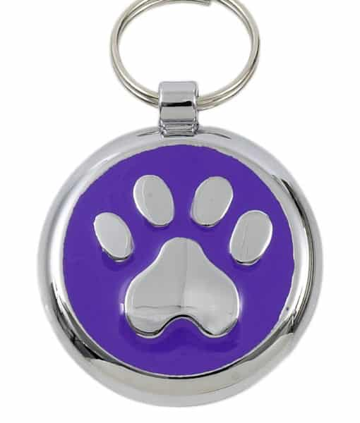 Smarties Domed Dog ID Tag With Paw - Purple