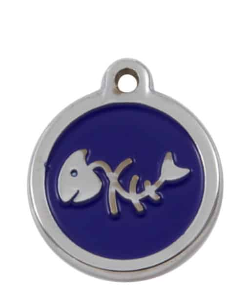 Sweetie Fishbone Engraved Pet ID Tag for Cats - Blue