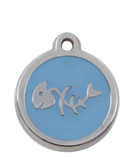 Sweetie Fishbone Engraved Pet ID Tag for Cats - Light Blue