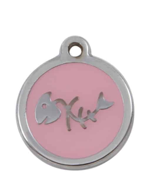 Sweetie Fishbone Engraved Pet ID Tag for Cats - Light Pink