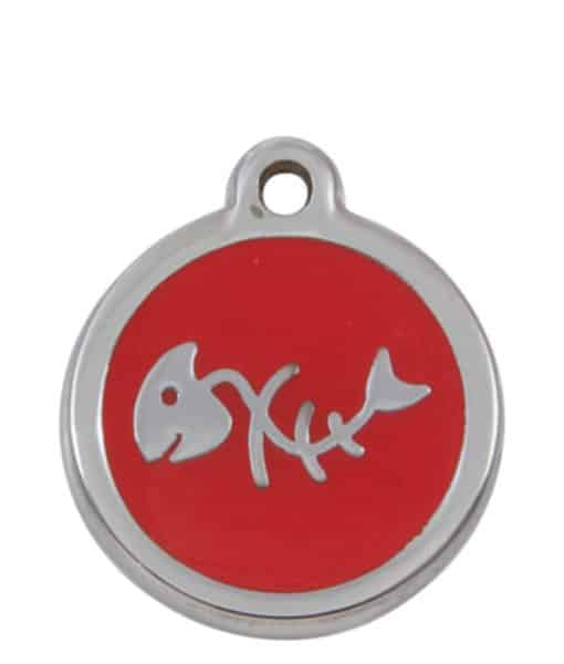 Sweetie Fishbone Engraved Pet ID Tag for Cats - Red