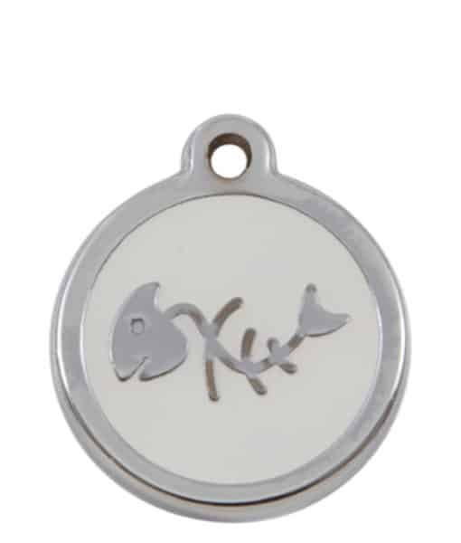 Sweetie Fishbone Engraved Pet ID Tag for Cats - White