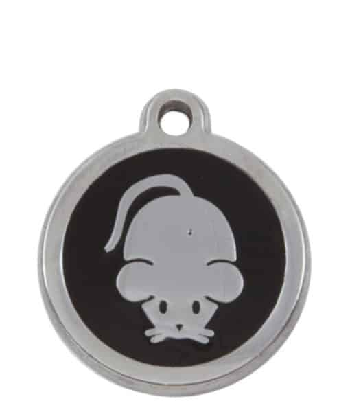Sweetie Mouse Engraved Pet ID Tag for Cats - Black
