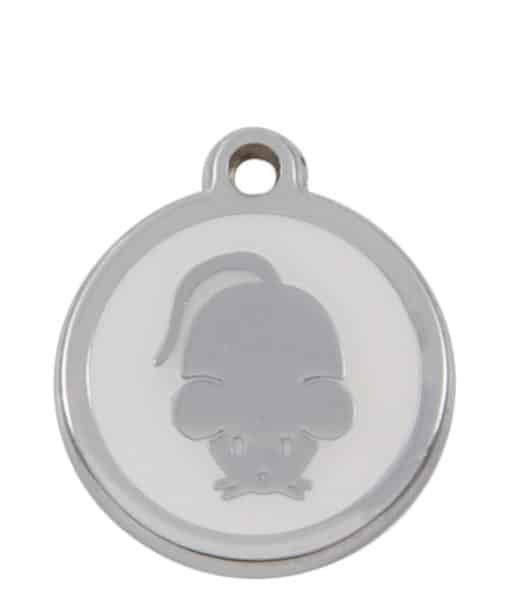 Sweetie Mouse Engraved Pet ID Tag for Cats - White