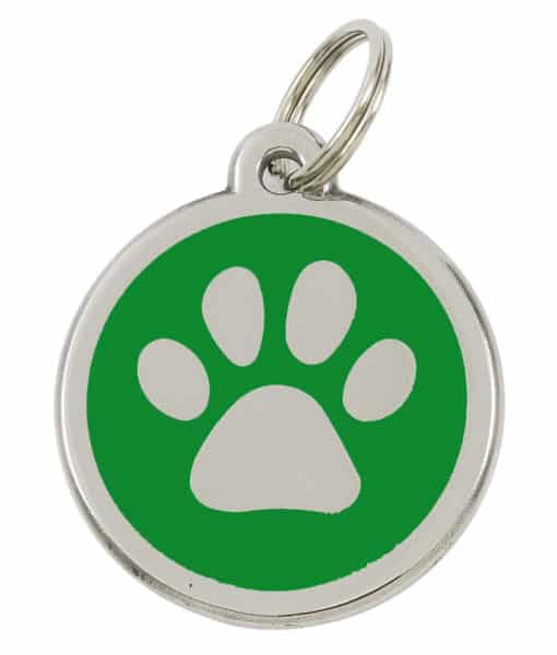 Sweetie Paw Print Custom Pet Tags for Dogs - Green
