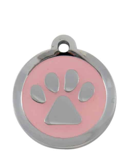 Sweetie Paw Print Custom Pet Tags for Dogs - Light Pink