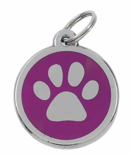 Sweetie Paw Print Custom Pet Tags for Dogs - Pink