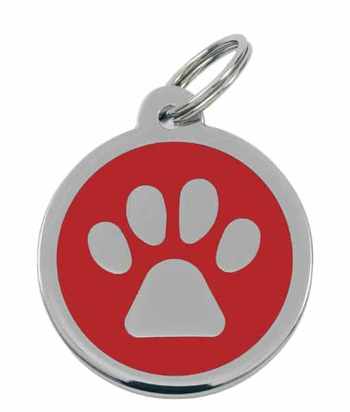 Sweetie Paw Print Custom Pet Tags for Dogs - Red