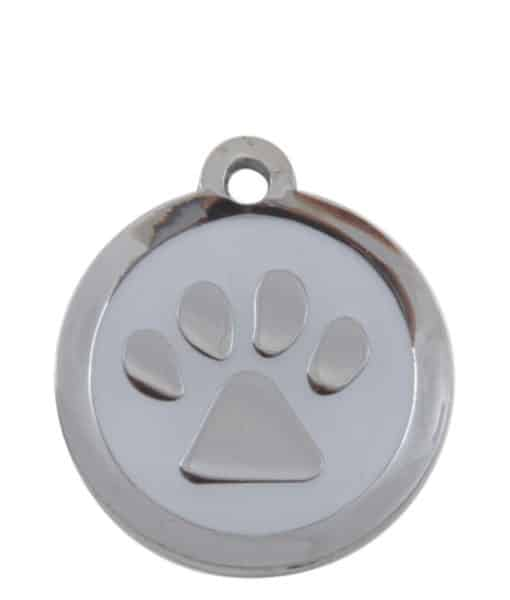 Sweetie Paw Print Custom Pet Tags for Dogs - White