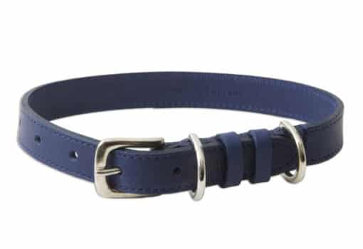 Italian leather dog collar - blue
