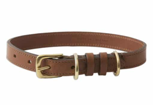 Italian leather dog collar - brown