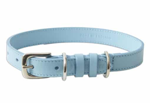 Italian leather pet collar - light blue