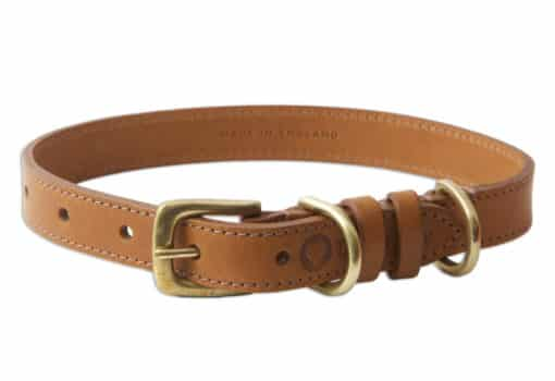 Italian leather pet collar - light brown