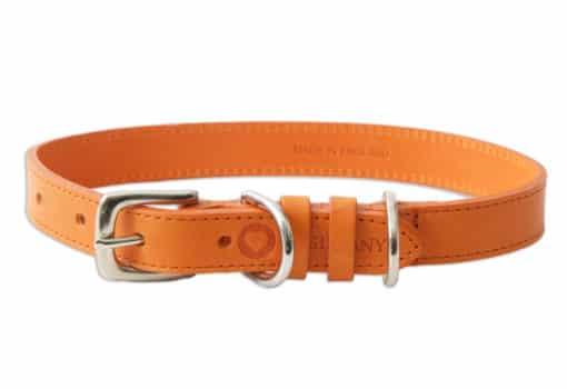 Italian leather pet collar - orange