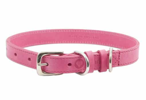 Italian leather pet collar - pink