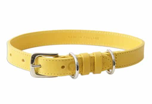 Italian leather pet collar - yellow