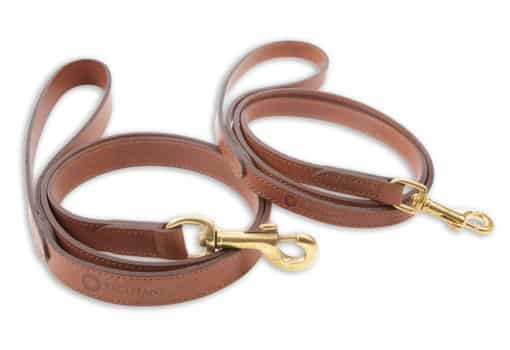 Italian leather pet lead - brown