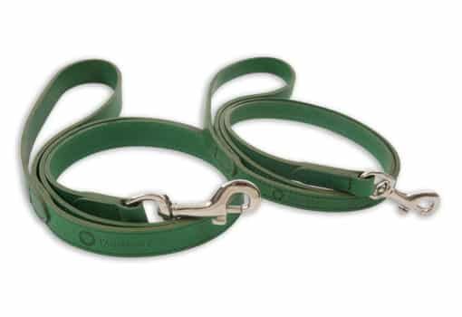 Italian leather pet lead - green