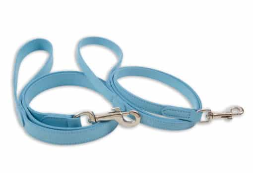 Italian leather pet lead - light blue