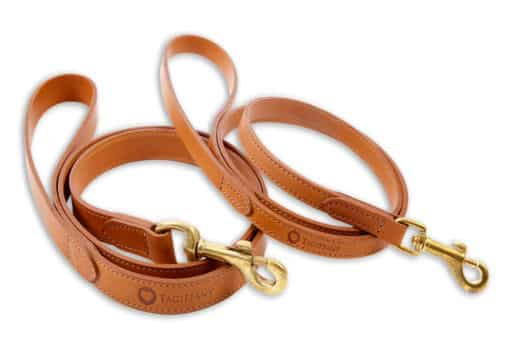 Italian leather pet lead - light brown