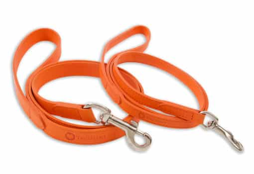 Italian leather pet lead - orange