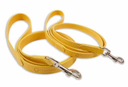 Italian leather pet lead - yellow