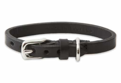 Italian leather collar for cats - black