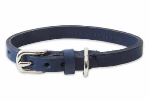Italian leather collar for cats - blue