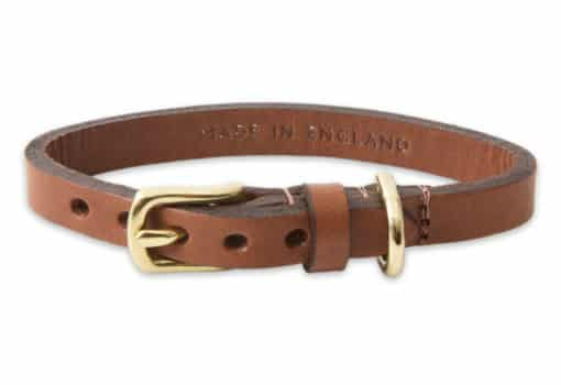 Italian leather collar for cats - brown