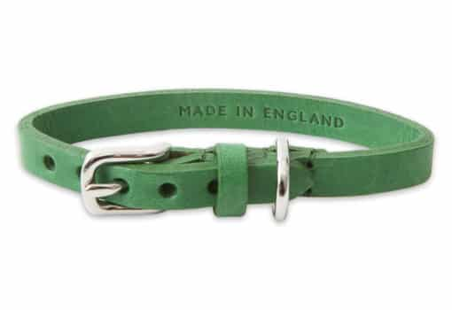 Italian leather collar for cats - green
