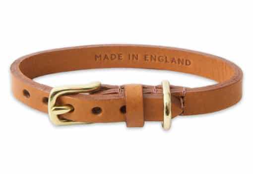 Italian leather collar for cats - light brown