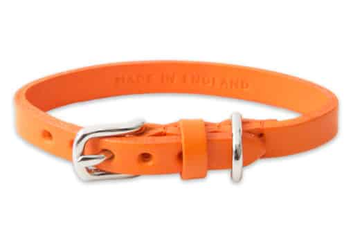 Italian leather collar for cats - orange