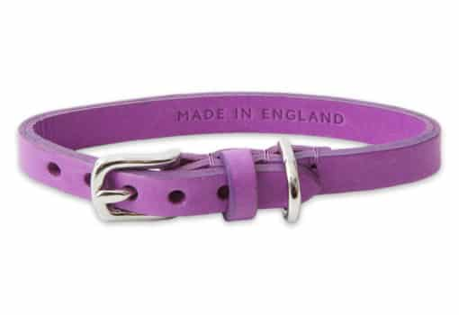 Italian leather collar for cats - purple