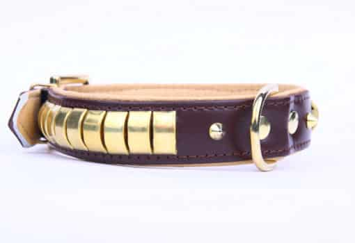 Tagiffany Gold Metal Pet Collar Purple Biege